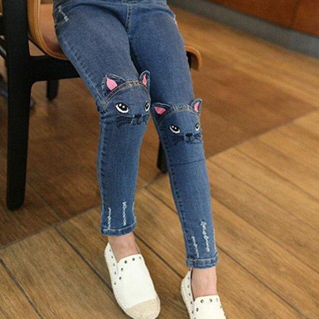 824d55456562d girls jeans pants fashion Spring Cartoon Cat On Knee Trousers Children's  Pencil Leggings Light Blue 2