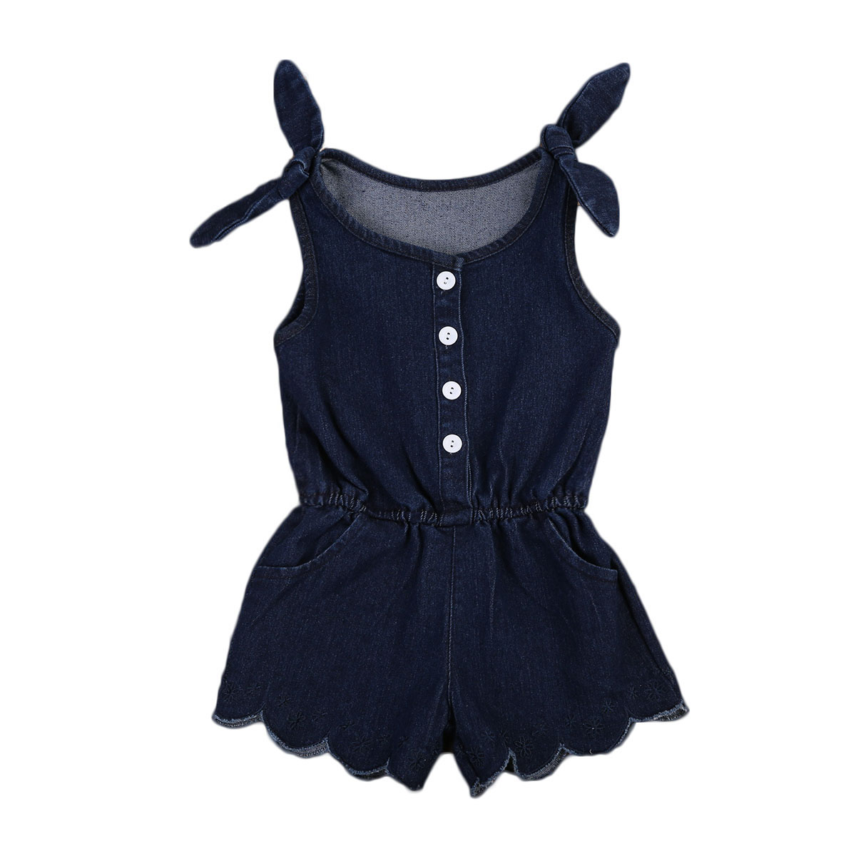 9949b282559e Newborn Infant Baby Girl Sleeveless Denim Romper Jumpsuit Toddler  One-Pieces Outfits Summer Sunsuit Clothes