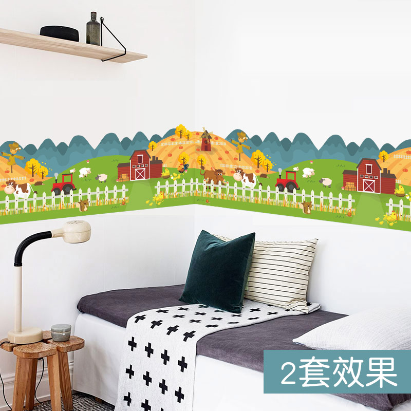 Kids Room Wall Decals Farm Wall Decals Farm Animal Decals: Happy Farm Animal House Fence Wall Sticker For Kids Rooms