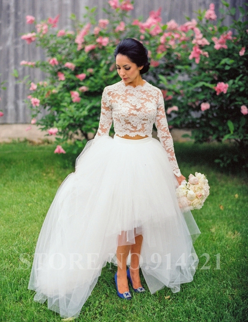 Top quality Vintage lace long sleeve high low Wedding Dress Vestidos ...