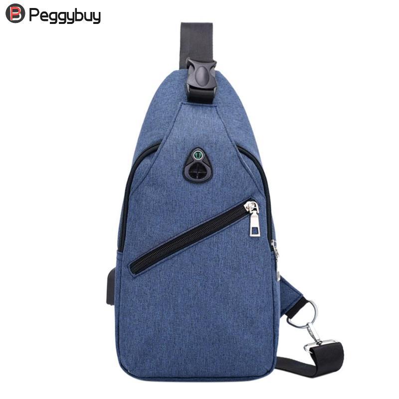 New Arrival Nylon Men Chest Pack USB charging Single Shoulder Strap Back Bag Crossbody Bags Quality Shoulder Bag Travel Bags