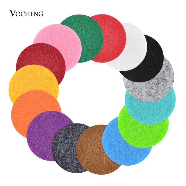 10pcs/lot Oil Pad Colorful 22mm Felt Pads for 30mm Perfume Locket Essential Oil Diffuser Locket Accessories 15 Colors VA-317*10
