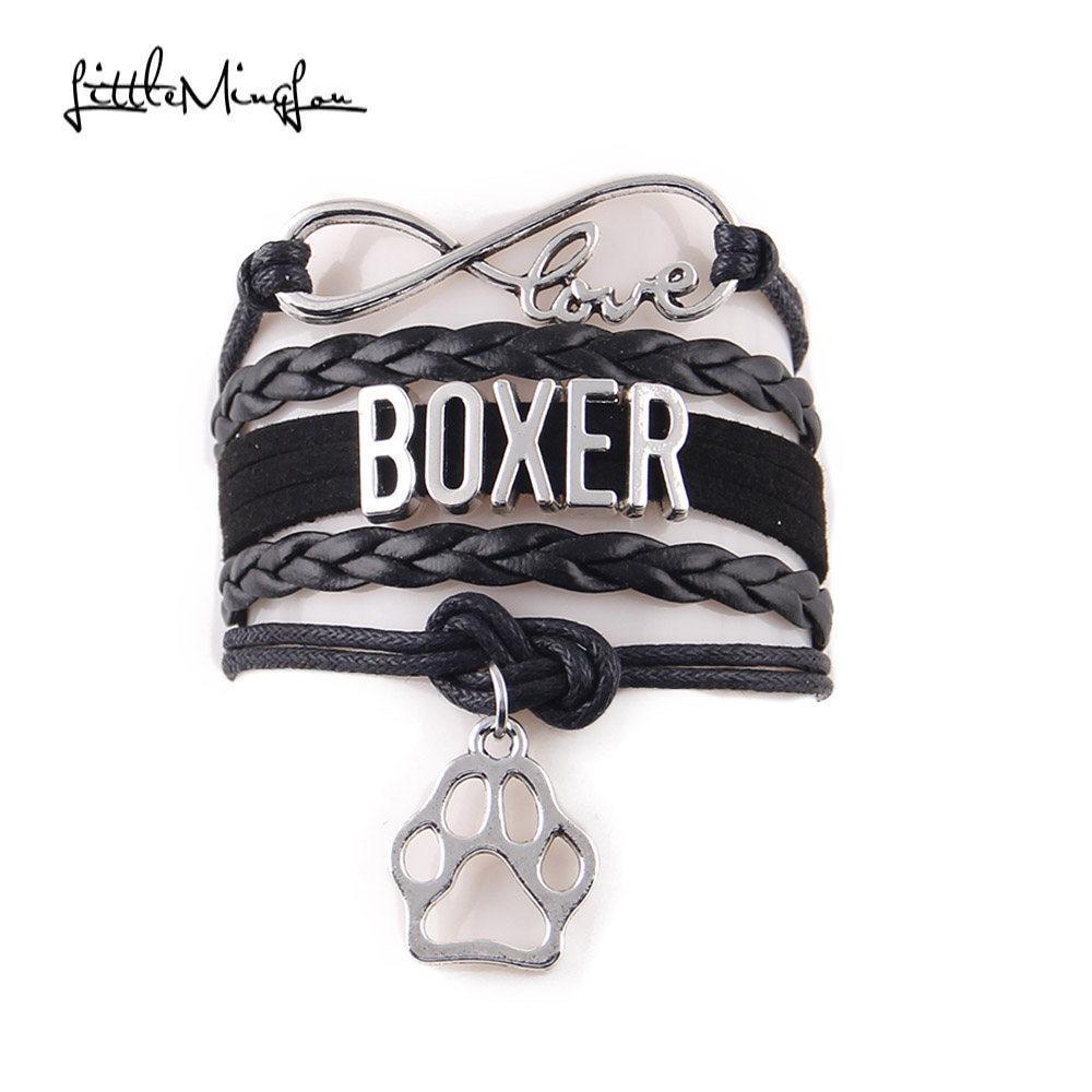 Little MingLou Infinity Love BOXER <font><b>bracelet</b></font> <font><b>dog</b></font> animal pet <font><b>paw</b></font> charm leather wrap men <font><b>bracelets</b></font> & bangles for women jewelry image