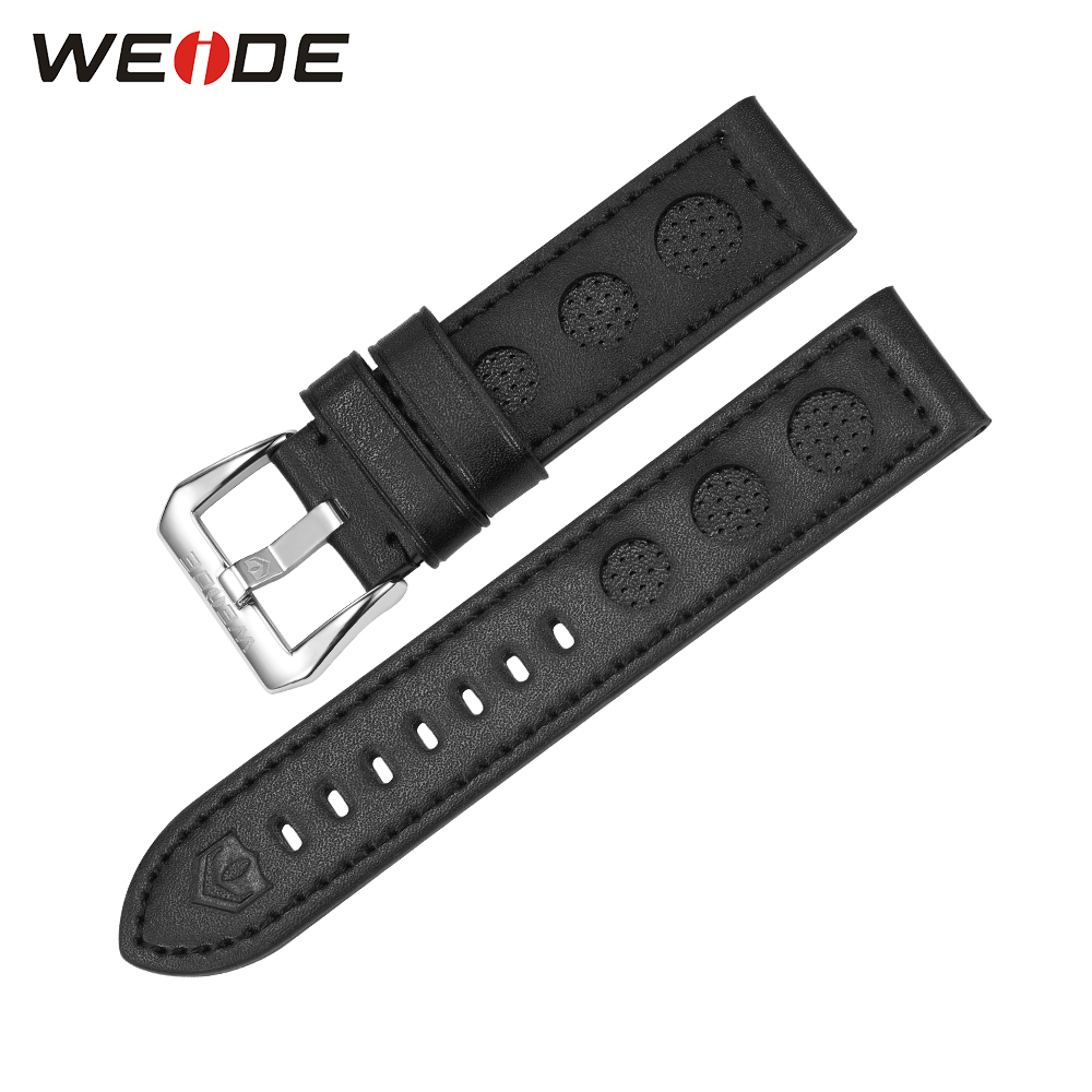 WEIDE Brand Luxury Fashion Men's Leather Strap Black Color Band Width 22mm High Quality Leather Watch Band