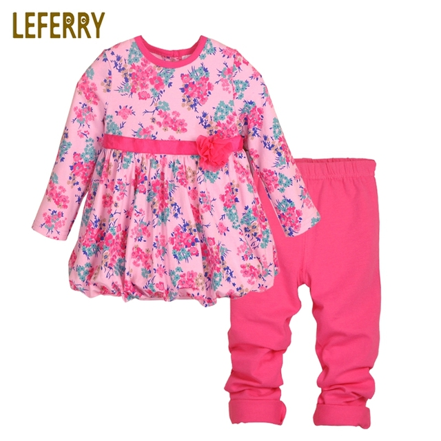 bfcfc37fb 2018 New Baby Girl Clothing Set Print Long Sleeve T Shirt + Legging ...