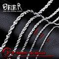 Beier collar de giro de acero inoxidable de 2mm/3mm/4mm5mm/6mm collar de cadena de moda boy hombre collar de cadena de plata de color bn1008
