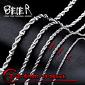 Beier stainless steel necklace twist 2mm/3mm/4mm5mm/6mm trendy chain necklace boy man necklace chain Silver Color BN1008