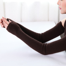 Women Arm Warmers Woman's Warm Glove In Autumn And Winter Polyester Solid Brown Gloves white Arm sleeve one size BLACK Mitts