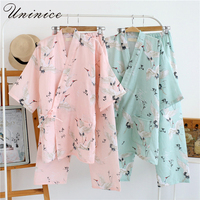 Women S Yukata Japanese Kimono Robes Pajamas Sets Cotton Dress Shorts Pants Nightgown Sleepwear Bathrobe Leisure