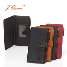 J.Quinn Women Men Snap Long Wallets with Zipper Pocket Genuine Leather Wallet for Man Woman Luxury Modern Cool Purses and Wallet