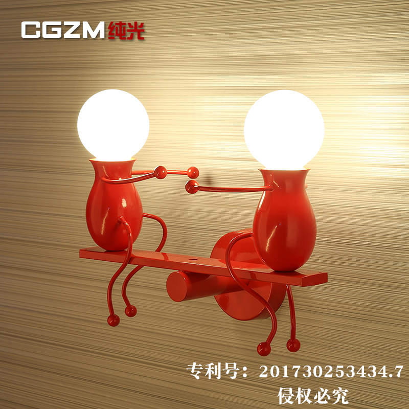 Modern Cartoon Doll LED Wall Lamp Creative Mounted Iron Sconce Wall Light for Kids Baby Bedroom Corridor Wall Light thrisdar e27 modern doll led wall light creative led mounted iron sconce wall lamp for kids baby room bedroom bedside hotel