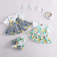 3PCS Set Newborn Infant Baby Girl Clothes Flower Tops Dress Blouse Shorts T Shirt Outfits Bebe