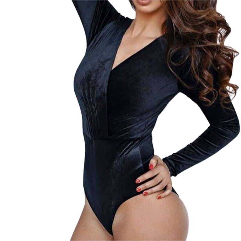 Bodycon Velvet Deep V-Neck Plunged Bodysuit Women Solid Sexy Velvet Body Top   Jumpsuit   2018 Long Sleeve Slim Romper Overall GV497