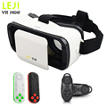 LEJI VR Mini Virtual Reality 3D Glasses Headset Google Cardboard Helmet VR BOX HeadMount  For 4.7-6' Smartphone+Bluetooth Remote