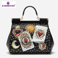 Italy Brand Women Handbags Sicily Ethnic Bag Genuine Leather Casual Tote Platinum Women Bags Lady Luxury Shoulder Messenger Bags