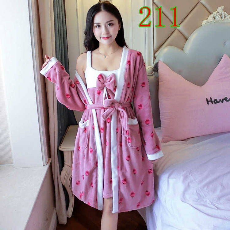 2PCS Sexy Thick Warm Flannel Robes Sets for Women 2018 Winter Coral Velvet Lingerie Night Dress Bathrobe Two Piece Set Nightgown 276