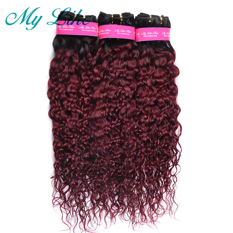 My Like Peruvian Water Wave Hair Bundles 1b/99j Black to Red Burgundy Non remy Hair Extension Ombre Human Hair Weave 1/3 Bundles