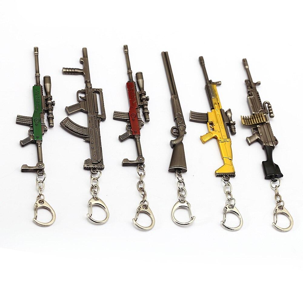 12cm PUBG Weapon Rifle AKM Model Key Chains Toys Gun Keychains llaveros chaveiro sleutelhanger Key Ring Keyring