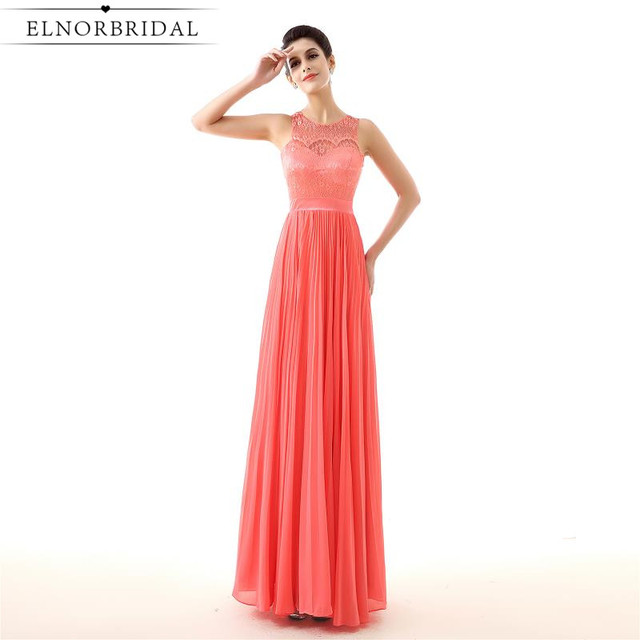 Cheap Coral Prom Dress Long 2017 Sheer Lace Special Occasion Formal ...