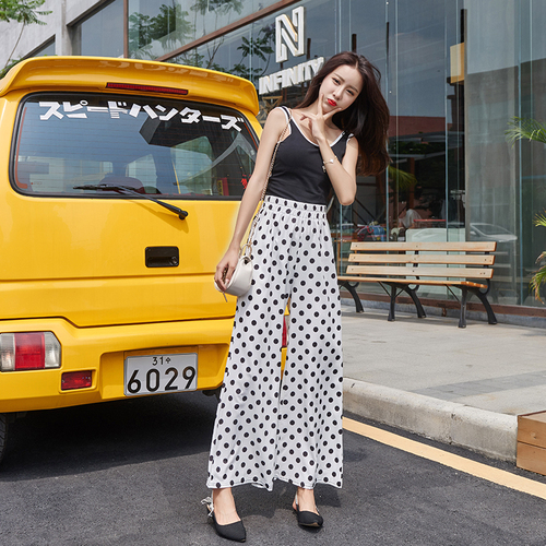 Streetwear Summer   Pants   Women 2019 Korean Vintage Polka Dot Elastic Waist   Wide     Leg     Pants   Black White Chiffon Flare   Pants   B307