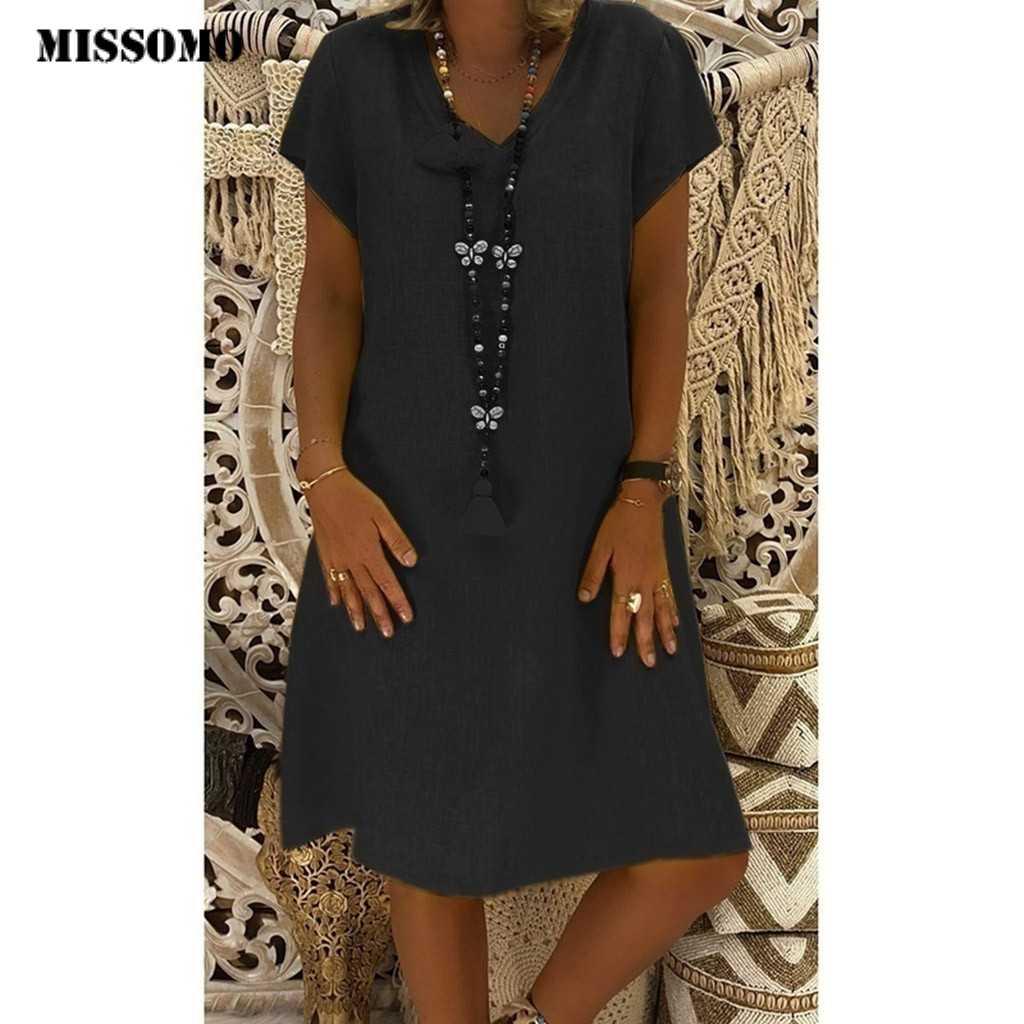 MISSOMO 5XL ドレス女性夏スタイル Feminino Vestidos shirtdress 綿カジュアルプラスサイズ夏の女性のドレスローブファム 621