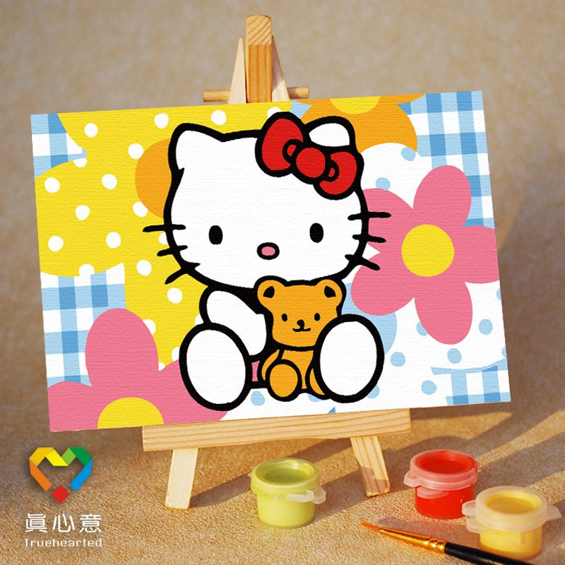 Diy digital oil painting cartoon oil painting mini painting colored drawing - kitty 10 15 belt easel