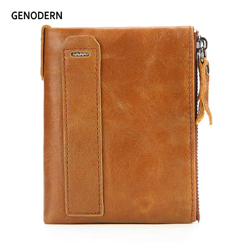 GENODERN RFID Genuine Cowhide Leather Men Wallet Small Vintage Wallets Short Double Zipper Purse Coin Pocket Card Holder vintage genuine leather men wallets with coin pocket zipper slot card holder designer cowhide short man purses carteira 2017