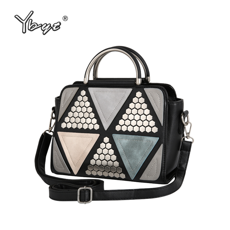 YBYT brand 2017 new patchwork fashion rivet saffiano handbags hotsale women shopping pack lady shoulder messenger