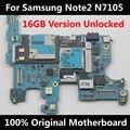 Original 100% placa base oficial para samsung galaxy note 2 n7105 desbloqueado 16 gb buena placa base placa lógica de trabajo con chips