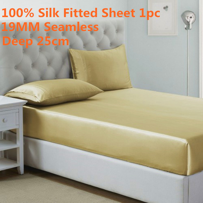1PC 19MM Seamless Fitted Sheet Deep 25cm 100 Mulberry Silk High Quality Solid Color Bed Sheet