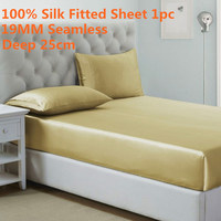 1PC 19MM Seamless Fitted Sheet Deep 25cm 100% Mulberry Silk High Quality Solid Color Bed Sheet CalKing King Queen Twin Full Size