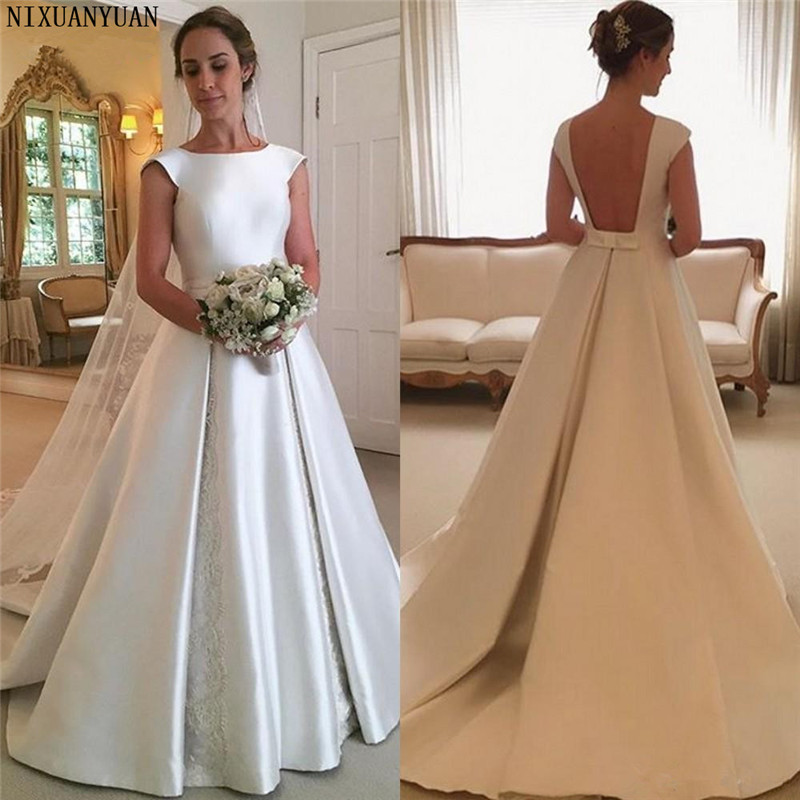 Ivory Satin Wedding Dresses A Line Cap Sleeve Sexy Backless Bridal Gowns With Lace Wedding Gown Vestido De Novia Manga Larga
