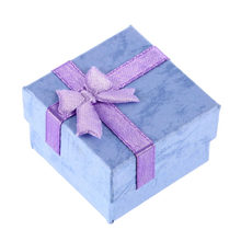 Earring Ring Chain Necklace Pendant Lilac Jewelry Women Gift Display Box Green Blue Packaging Holder Bow Cardboard Random Color(China)