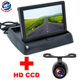 "4.3"" Color LCD Video Foldable Car Monitor+Universal Car CCD Rear View Camera Night Vision backup Camera 2 in 1 Auto Parking"