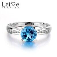 Украшения leige, круглый вырез, швейцарское кольцо с голубым топазом для женщин, Стерлинговое серебро 925, обручальные кольца, синий драгоценны