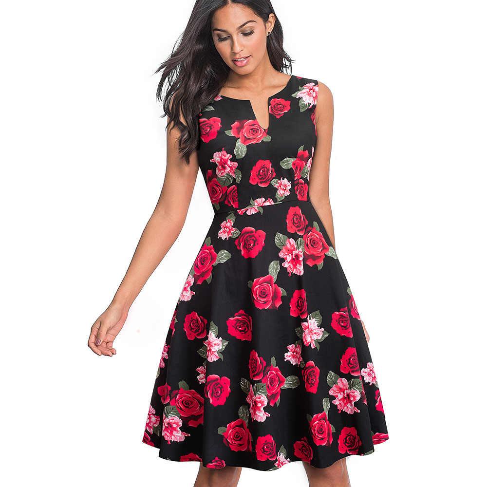 Женское винтажное деловое платье Nice-forever, летнее, элегантное и расширяющееся книзу платье-колокол контрастного черного или темно-синего цвета с цветочным рисунком,A091