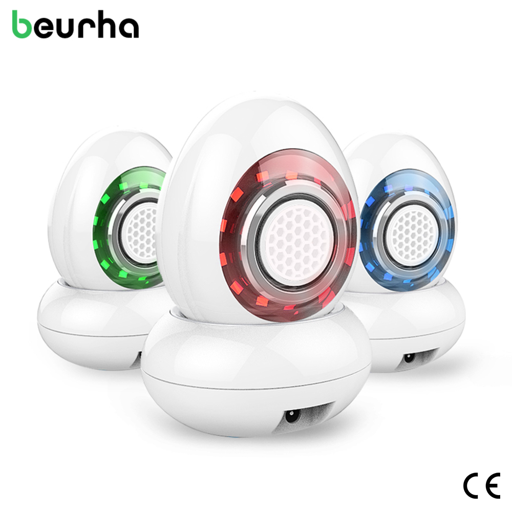 Beurha Rechargeable Ultrasonic RF Radio Frequency Photon Light Therapy Facial Care Wrinkle Tightening Vibration Beauty Device mini portable usb rechargeable ems rf radio frequency skin stimulation lifting tightening led photon rejuvenation beauty device