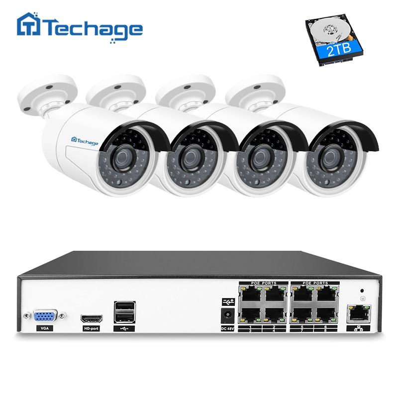 Techage H.265 8CH 4MP POE NVR CCTV System 4PCS Outdoor Waterproof PoE IP Camera P2P Cloud Onvif Email Alert Surveillance System 2 0m 4pcs cloud