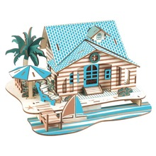 цена на 3D Puzzle Toys Wooden DIY Houses Jigsaw Kids Castle Dollhouse Construction Model Toys for Children Adults Education Toy Gift