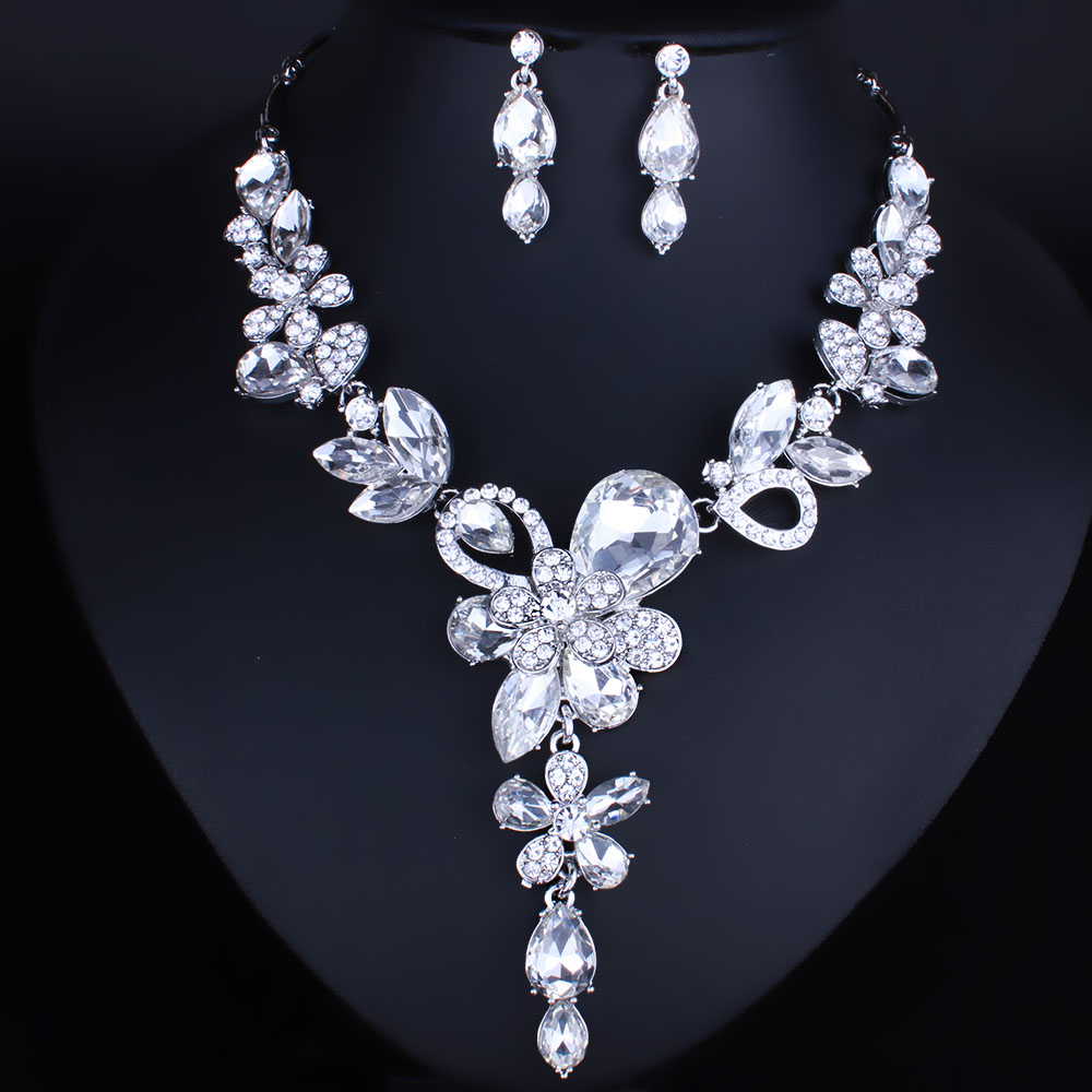 2017 Fashion African Jewelry Set Exquisite Crystal Rhinestones Flower Necklace and Earrings Set Wedding Jewelry sets For Bridal