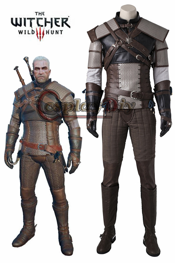 Cosplaydiy La Witcher3 Sauvage Chasse geralt de riv Cosplay Costume Adulte Hommes Halloween Cosplay Outfit Faite J215