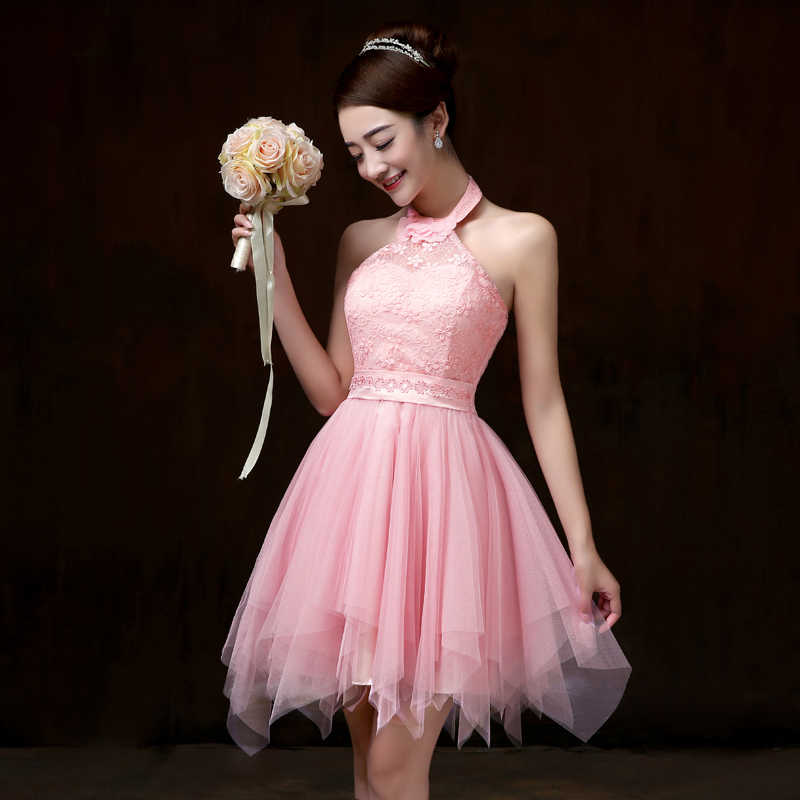 Sweet Memory Pink Halter short Bridesmaid dress bride sister gusts crepe  wedding party Bridesmaid dresses SW0013 a78db5ce3792