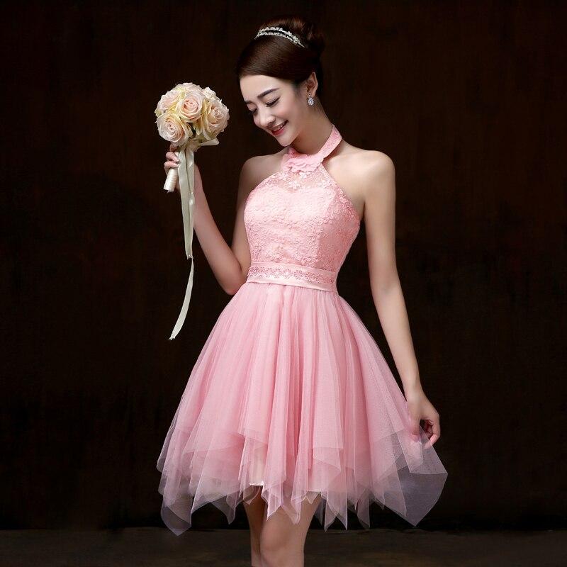 Sweet Memory Pink Halter short Bridesmaid dress br...
