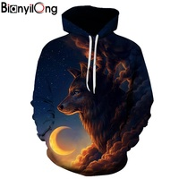 BIANYILONG New Fashion Men Women 3d Hoodies Print Nightfall Trees Designed 3d Sweatshirts Unisex Wolves Hooded
