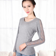 A low collar lace warm long johns sleeve shirt in