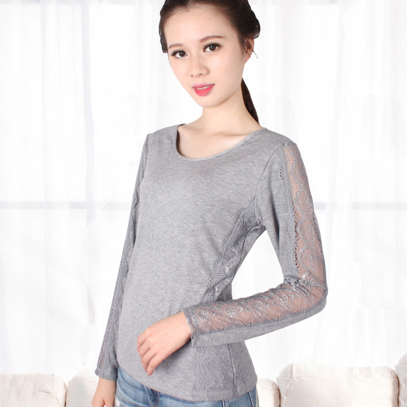 A Low Collar Lace Warm Long Johns Sleeve Shirt In Spring Autumn New Female Korean Thin Black Thread Coat Thermal Underwear Women