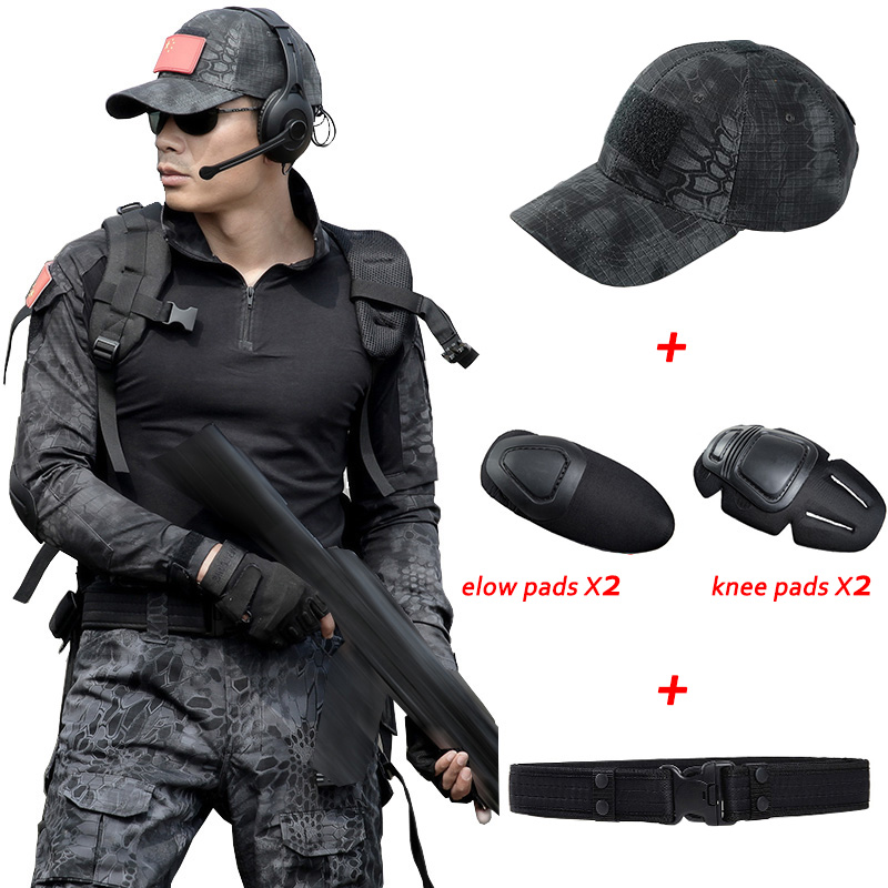 Military Uniform Multicam Army Combat Shirt Uniform Tactical Pants With Knee Pads Camouflage Suit Hunting Clothes military uniform multicam army combat shirt uniform tactical pants with knee pads camouflage suit hunting clothes