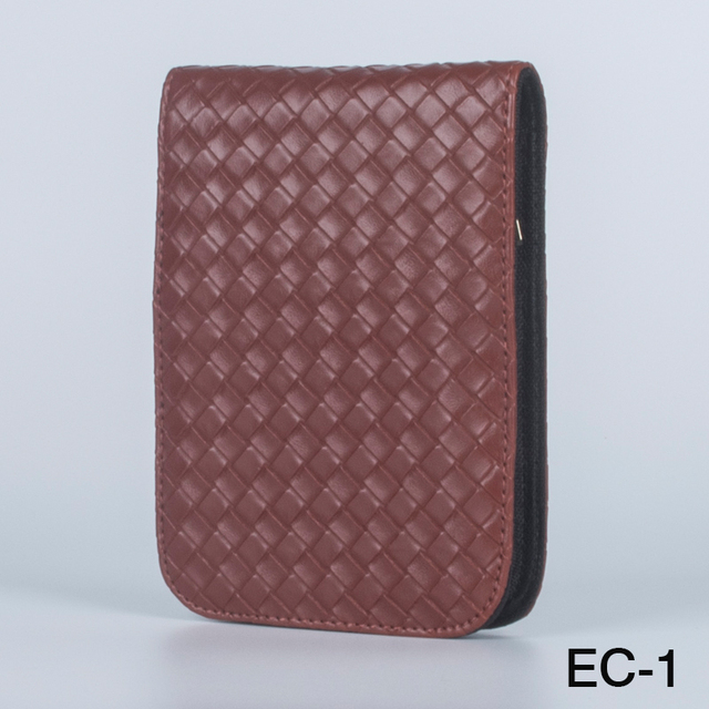 High Quality Office Stationery Fountain Pen Bag Roller Case Coffee Knitting Leather For