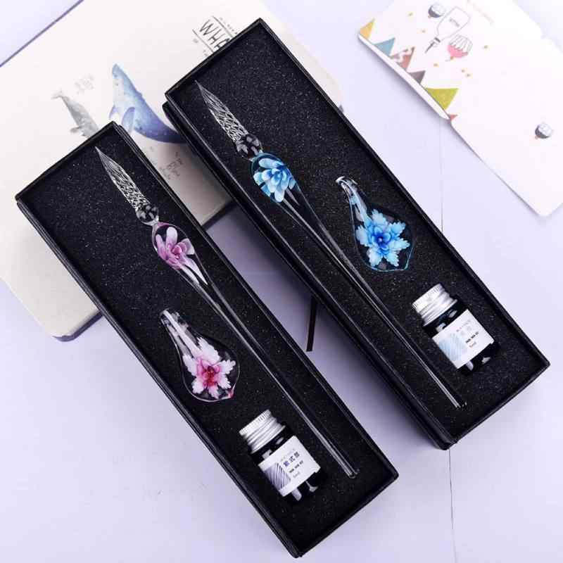 Banquet Gifts Glass Signature Pen for Party Favors Flower Ink Writing Glass Pen with Case Wedding Valentine's Day Decor