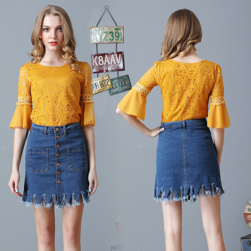 e4e105148cc JOGTUME Denim Mini Skirts with Pockets Single breasted Summer Blue Elastic  Tassel Cotton Pretty Women Jean Skirt High Quality-in Skirts from Women's  ...